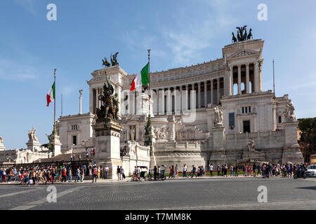 "Altar of the Fatherland, Il Vittoriano in Piazza Venezia, or locally known as ""The Wedding Cake' in Rome, Italy, - Stock Photo"