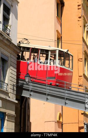 France, Rhône, Lyon, 5th district, Old Lyon district, UNESCO World Heritage Site, funicular - Stock Photo