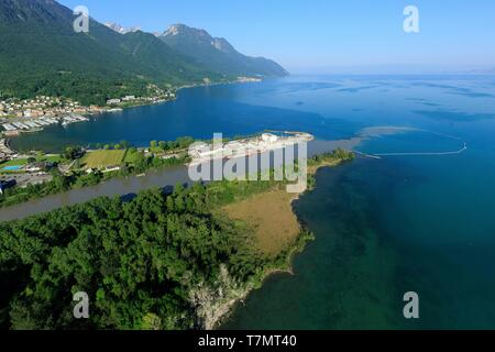 Switzerland, canton of Vaud district of Aigle and canton of Valais, district of Monthey, Lake Geneva, mouth of the Rhone, Port Valais on the left (aerial view) - Stock Photo