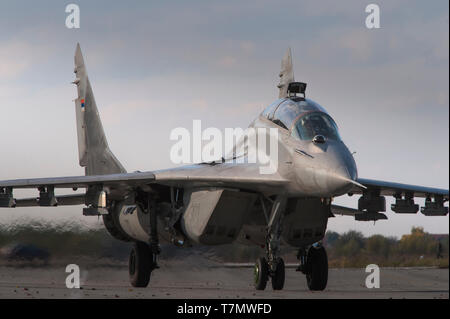 Serbian Air Force Soviet-made MiG-29 (NATO reporting name: Fulcrum) air superiority fighter jet combat aircraft - Stock Photo