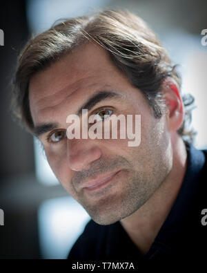 Portrait of Swiss tennis player Roger Federer during press conference, Dubai, United Arab Emirates - Stock Photo