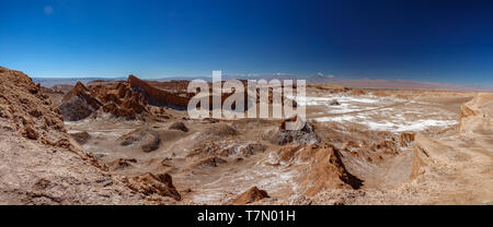 Moon valley with amphitheater road and Licancabur volcano - Stock Photo