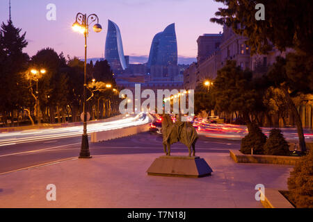 Panoramic view of Baku. Routes in Baku. Multi-level road junction with heavy car traffic. Located on Neftchilar Avenue - Stock Photo