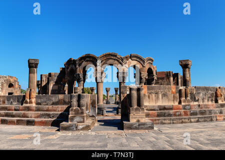 Ruins of the Temple of Zvartnots with blue sky in background, Yerevan, Armenia - Stock Photo
