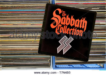 Black Sabbath, The Sabbath collection, album, albums in a box of second-hand LP records, England - Stock Photo