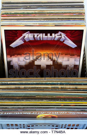 Metallica, Master of Puppets album, albums in a box of second-hand LP records, England - Stock Photo