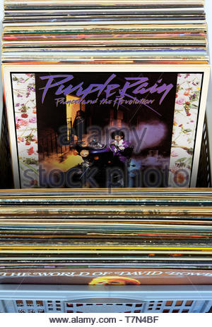 Prince and The Revolution, 1984 Purple Rain album, albums in a box of second-hand LP records, England - Stock Photo