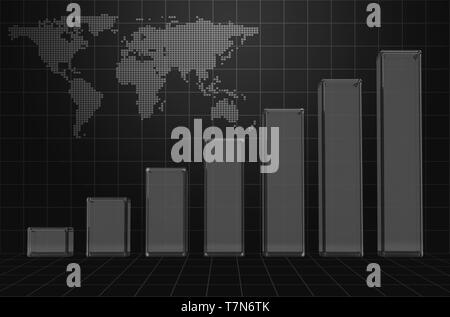 Stylish Business Graph Background with World Map - Stock Photo