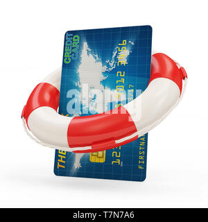 Credit Card Security and Service Concept. Credit Card with Red Lifebelt isolated on white background - Stock Photo