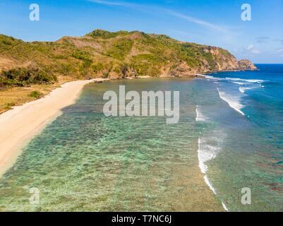 Indonesia, Lombok, Kuta area, Mawan Beach or Mawun (aerial view) - Stock Photo