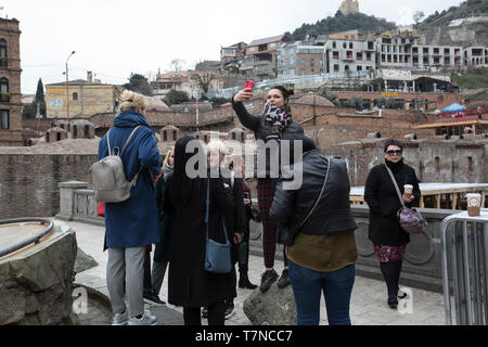 Tbilisi capital of Georgia, where Europe meets Asia, with periods under Persian and Russian rule. - Stock Photo