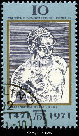 Postage stamp from East Germany (DDR)  in the 500th Birthday Of The Painter Albrecht Dürer (1471-1528) series issued in 1971 - Stock Photo