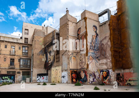 Main street buildings in Cartagena, Murcia, Spain - Stock Photo