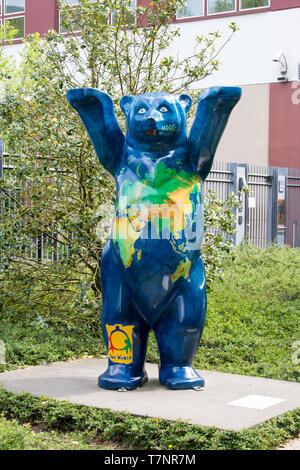 The One World Buddy bear statue in Berlin. - Stock Photo