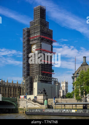 HOUSES OF PARLIAMENT',LONDON:  The Elizabeth Tower (big Ben) covered in scaffolding during Restoration in 2018 - seen from the River Thames - Stock Photo