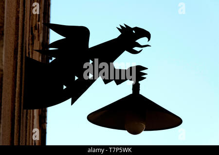 Public lighting in the shape of a dragon, Usson village, Auvergne, France - Stock Photo