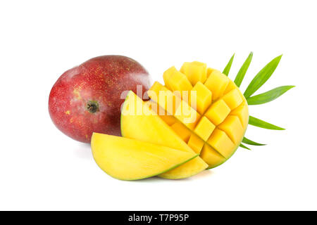 Fresh mangoes with palm leaf isolated on white background - Stock Photo