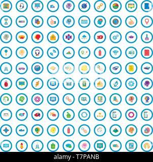 100 website icons set, cartoon style - Stock Photo