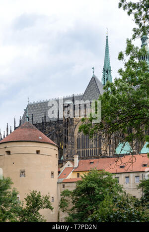 The Cathedral of Saints Vitus. A  Roman Catholic cathedral in Prague, the seat of the Archbishop of Prague. Located within Prague Castle contain tombs - Stock Photo