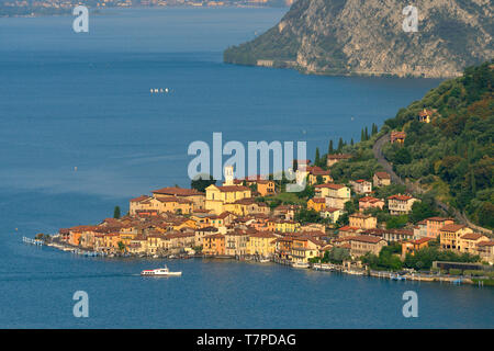 Italy, Lombardy, Iseo lake (Il Lago d'Iseo), Monte Isola island, Peschiera Maraglio village - Stock Photo