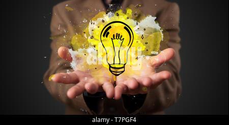 Elegant hand  holding lighting bulb in his hand, new idea concept  - Stock Photo