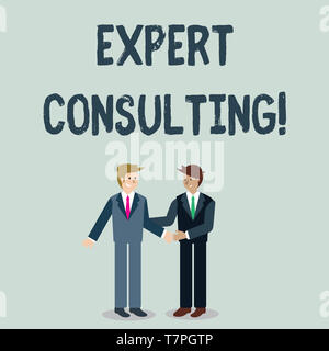 Writing note showing Expert Consulting. Business concept for providing of expert knowledge to a third party for a fee Businessmen Smiling and Greeting - Stock Photo