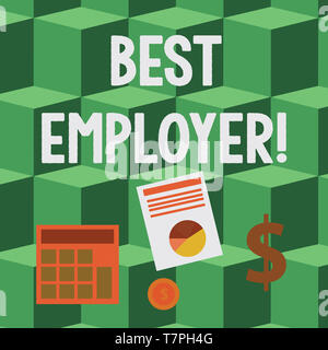 Handwriting text Best Employer. Conceptual photo creating a culture where employees feel valued and appreciated Computing Dollar Investment in Gold an - Stock Photo