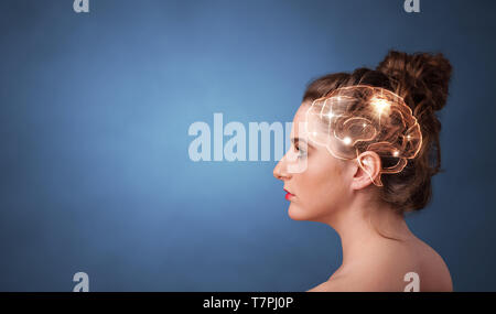 Portrait with lighting brain and brainstorming concept  - Stock Photo