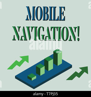 Word writing text Mobile Navigation. Business photo showcasing graphical user interface used to aid the vehicle driver Colorful Clustered 3D Bar Chart - Stock Photo