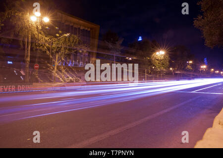 Bright Baku nights . Panoramic view of Baku. Night routes in Baku. Multi-level road junction with heavy car traffic. - Stock Photo