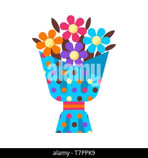 Happy Birthday flower bouquet gift. Festive icon or illustration. - Stock Photo