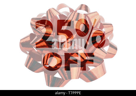 Red gift ribbon in closeup with highlighted text 25% off - Stock Photo