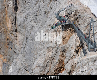 The suspension bridge and Stairway To Nothingness on the Hoher Dachstein, Austria, Europe - Stock Photo