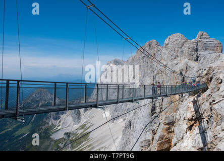 The Dachstein Suspension Bridge. - Stock Photo