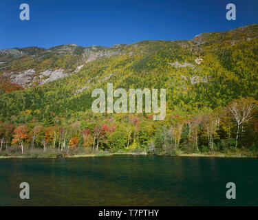 USA, New Hampshire, White Mountains, Crawford Notch State Park, Mount Webster rises above fall colored northern hardwood forest and pond. - Stock Photo