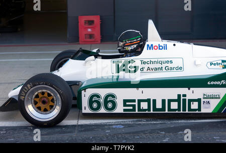 Close-up of Tommy Dreelan, sitting in the cockpit of his 1982, Williams FW08 Historic Formula One Car, during the 2019 Silverstone Classic Media Day - Stock Photo