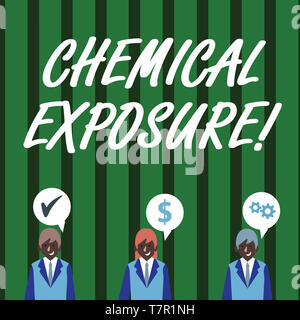 Text sign showing Chemical Exposure. Business photo text Touching, breathing, eating or drinking harmful chemicals Businessmen Each has their Own Spee - Stock Photo