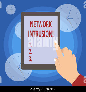 Handwriting text writing Network Intrusion. Conceptual photo device or software application that monitors a network - Stock Photo