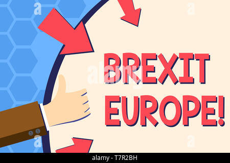 Writing note showing Brexit Europe. Business concept for possibility of Britain withdrawing from the European Union Hand Gesturing Thumbs Up Holding o - Stock Photo