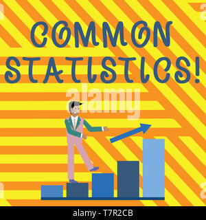 Word writing text Common Statistics. Business photo showcasing used to calculate values related to statistical concepts Smiling Businessman Climbing C - Stock Photo