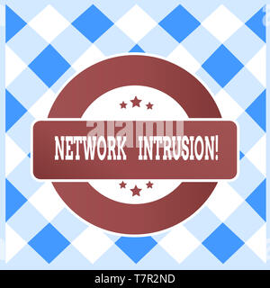 Text sign showing Network Intrusion. Business photo text device or software application that monitors a network - Stock Photo