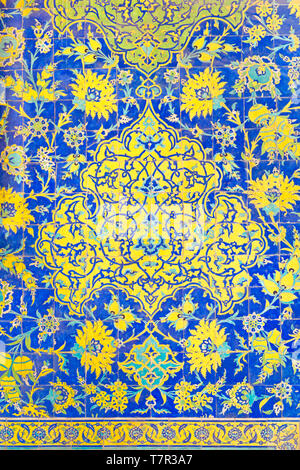 Detail of tilework, Masjed-e Shah, Shah mosque or Imam mosque, Esfahan, Iran - Stock Photo