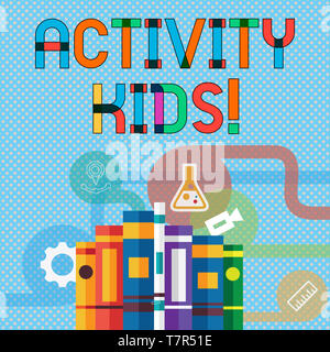 Writing note showing Activity Kids. Business concept for form of organized supervised often extracurricular recreation Books Arranged Standing in Row  - Stock Photo