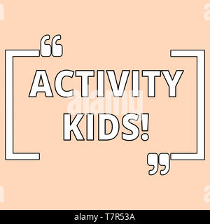 Writing note showing Activity Kids. Business concept for form of organized supervised often extracurricular recreation Shade of Pale Pink for Invitati - Stock Photo