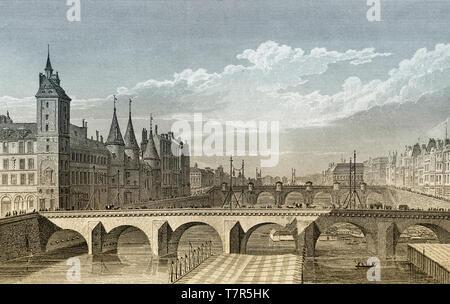 Pont au Change, Paris, antique steel engraved print, 1831 - Stock Photo