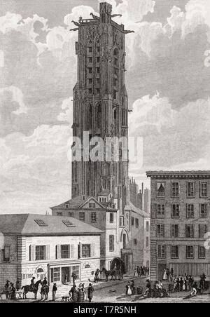 Saint-Jacques Tower, Paris, antique steel engraved print, 1831 - Stock Photo