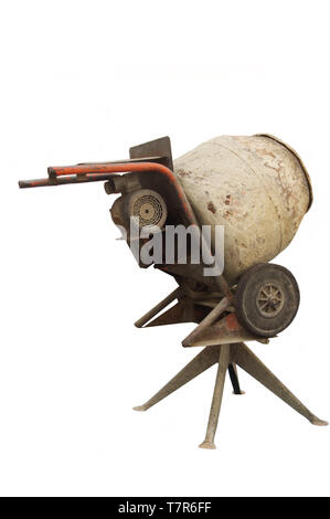 Isolated Retro Vintage Cement  Mixer - Stock Photo