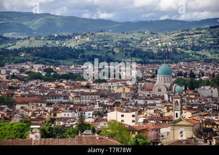 The Great Synagogue of Florence or Tempio Maggiore is one of the largest synagogues in South-central Europe, situated in Florence, in Italy. - Stock Photo