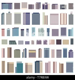 collection of isolated vector buildings - Stock Photo