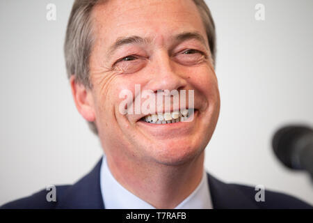 Brexit Party leader, Nigel Farage, at a party event in Central London ahead of the European elections on May 22nd. - Stock Photo